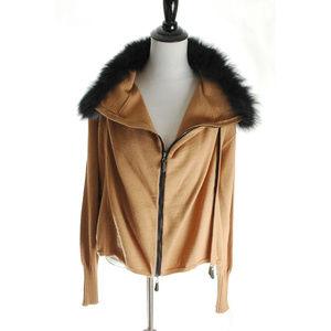 Jamie Saddock Wool Sweater Zip Fox Fur Collar S